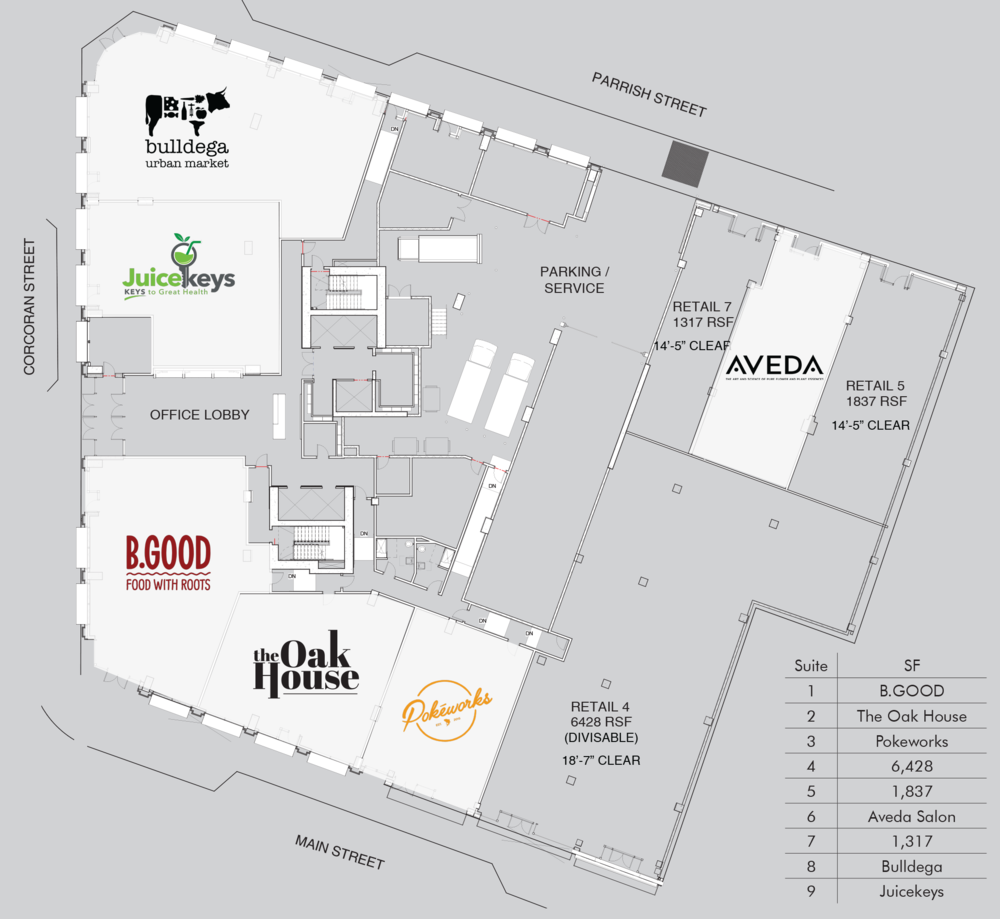 Retail Floor Plans Downtown Durham Nc One City Center