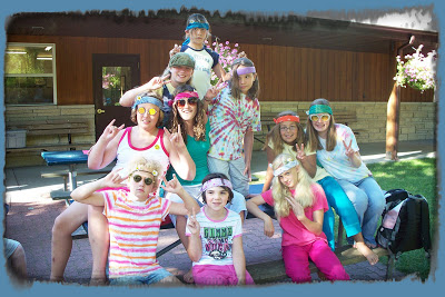 Girl Campers and Staff in Tie-Dye Outfits