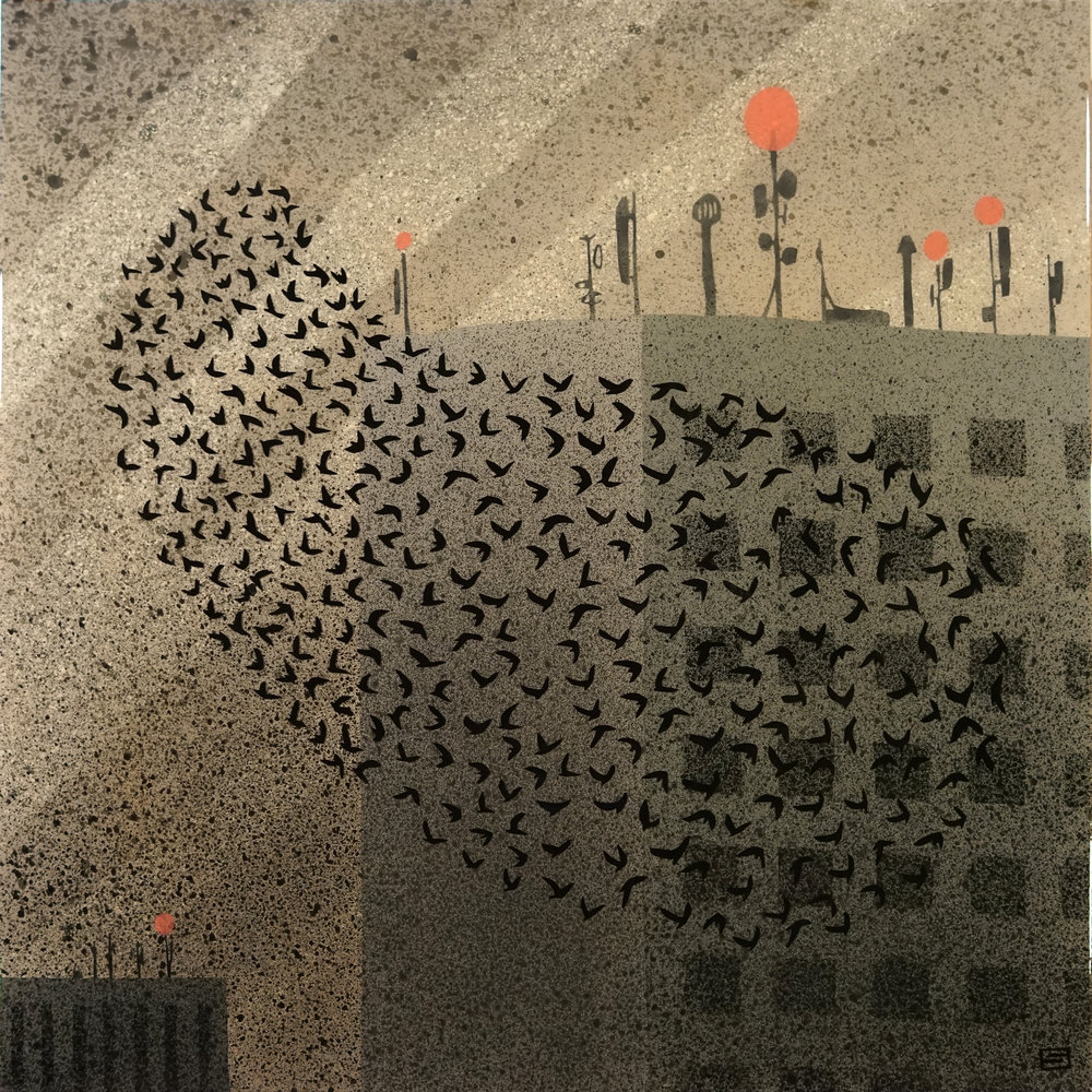 Downtown murmuration