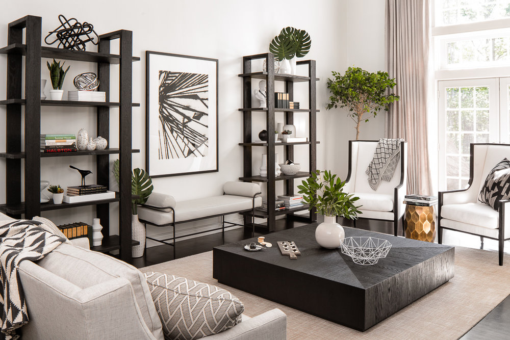 high contrast living room
