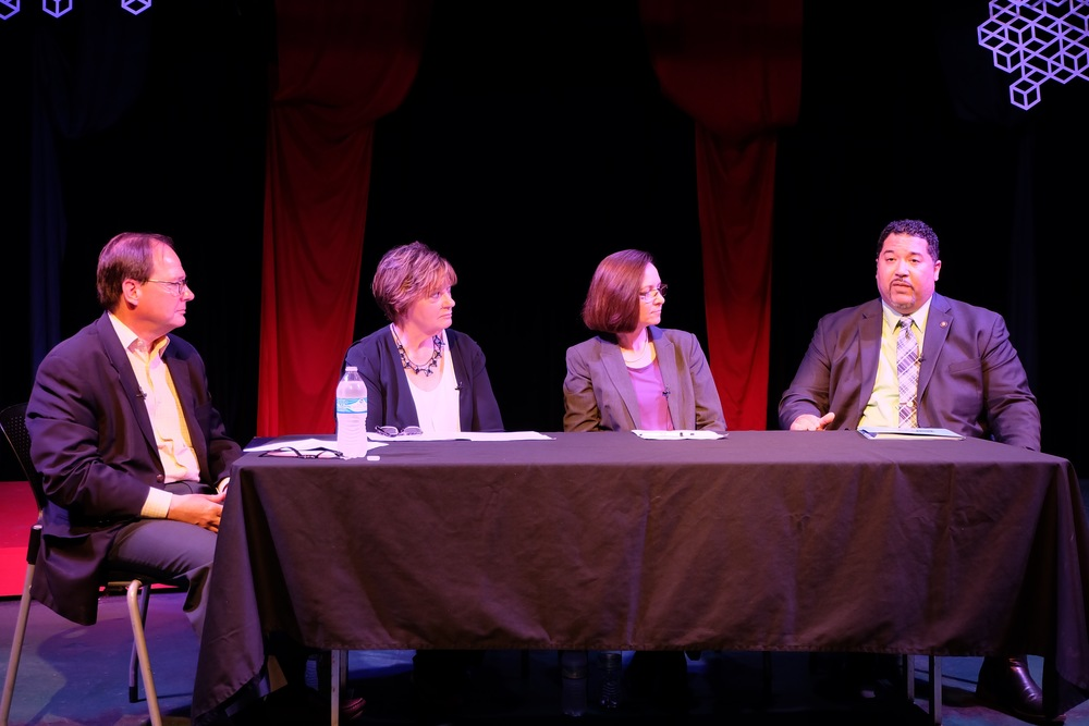 Allen Proctor, president and CEO of the Center for Social Enterprise Development, moderated the panel discussion with participants of the new SE Catalyst initiative. Panelists (left to right): Teresa Trost, executive director of Community Shares of Mid Ohio; Joy Chivers, CEO at Gladden Community House; and Bo Chilton, CEO at IMPACT Community Action.