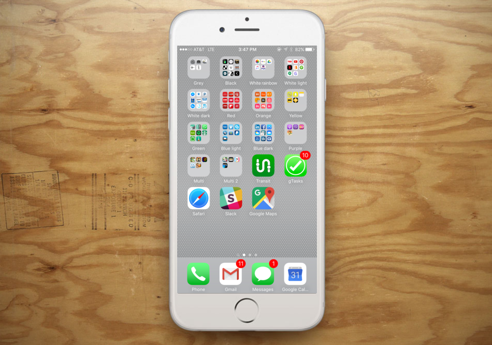 My iPhone home screen -- I promise you, it's life-changing to organize your apps by color.