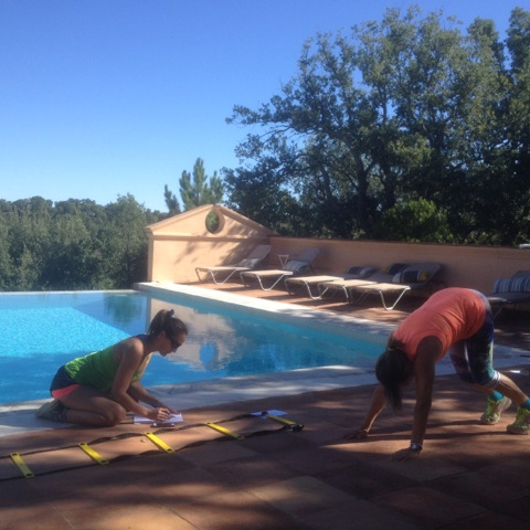 Poolside workout fitness retreat in Spain