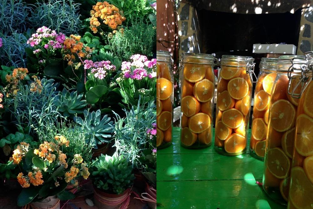 Homemade table decorations, garden wedding, Aracena