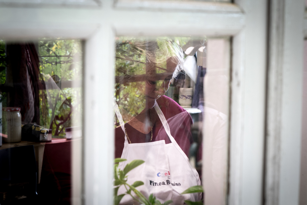 Jeannie through the kitchen window. Photo by Devinder Oberoi.
