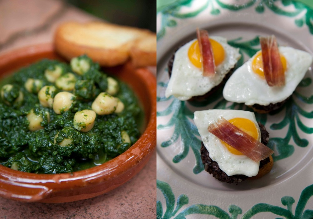 Typica tapas - garbanzo, jamon and morcilla
