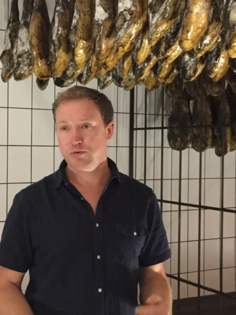 Jago Chesterton explaining the Jamón curing process at 5 Jotas.
