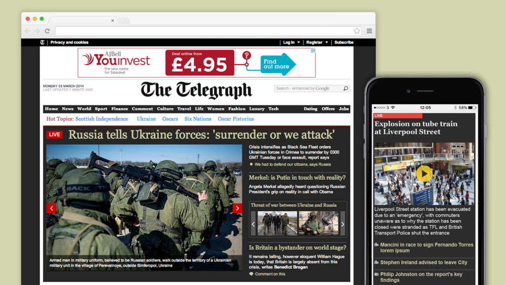 The major news element was used on the homepage of the website and a breaking news ticker was shown across article pages.