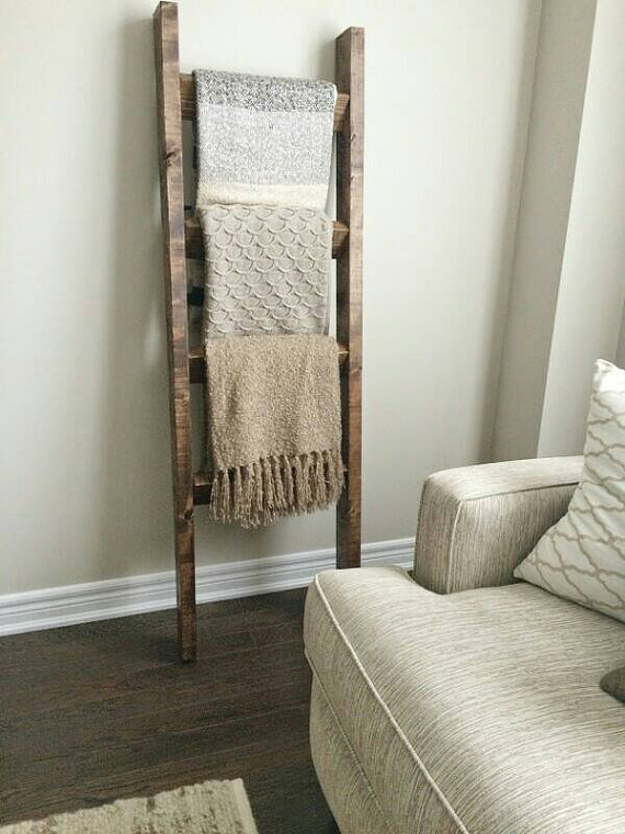 Reclaimed Wood Blanket Ladder Gravity Woodworking