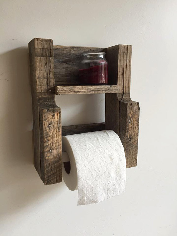 Rustic reclaimed wood toilet paper holder gravity - Wooden art mobili ...
