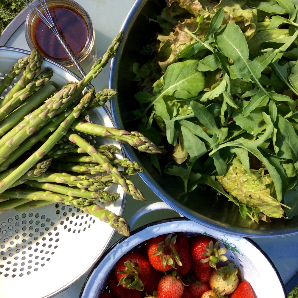 Fresh Long Island asparagus, organic strawberries and home grown greens