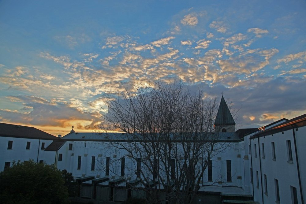 Abbey of Our Lady of Gethsemani at dawn