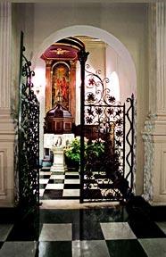 Corpus Christi Baptismal Font. Site of Merton's baptism November 16, 1938.