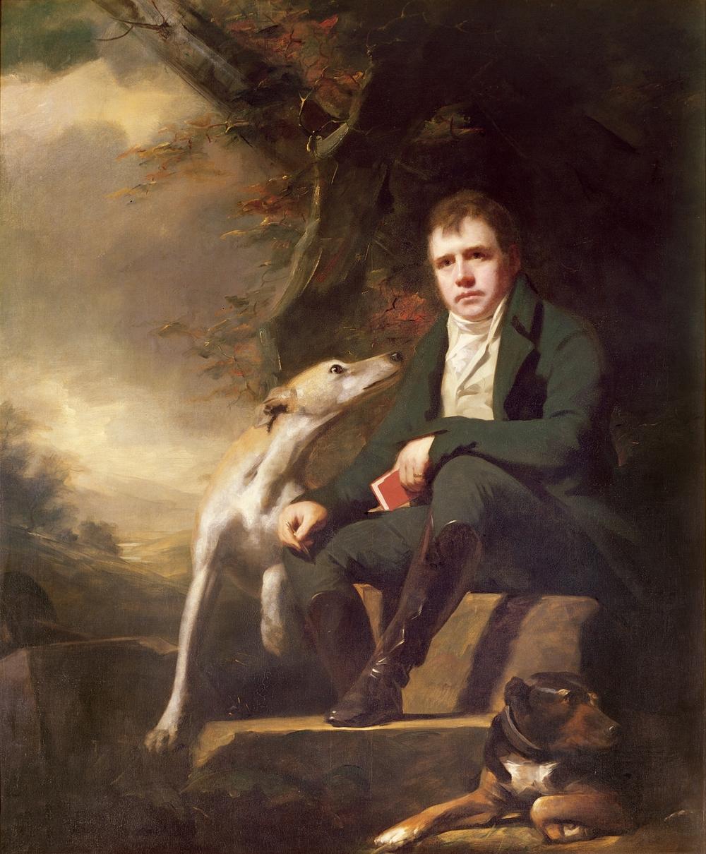 Henry Raeburn's portrait of Walter Scott and dogs (1823).