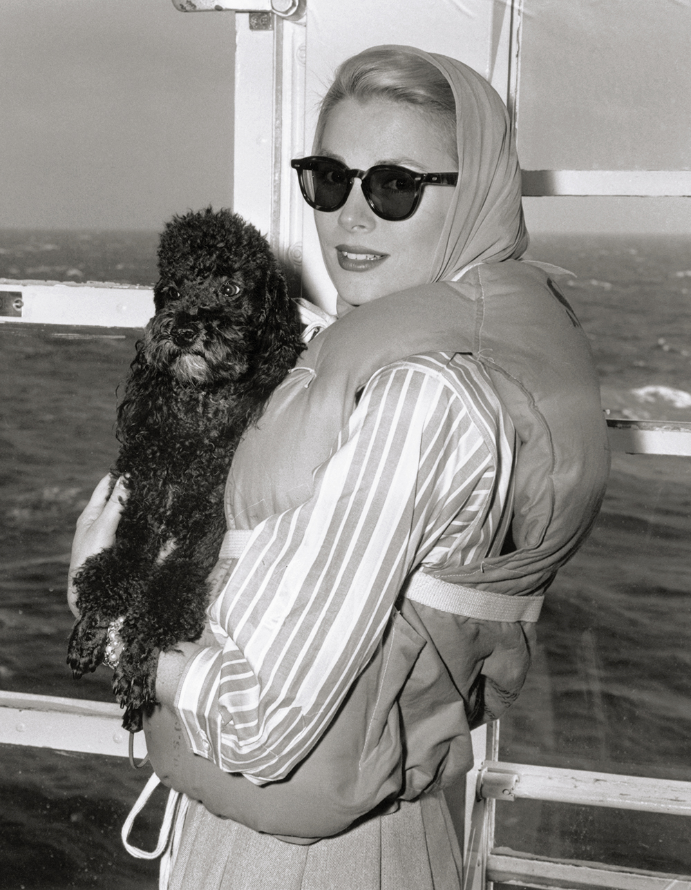 Grace Kelly onboard the SS Constitution bound for Monaco.