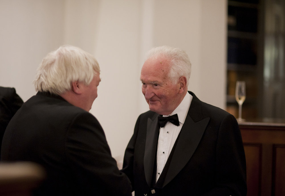 Lord Mackay of Clashfern greets guest Brian Taylor.