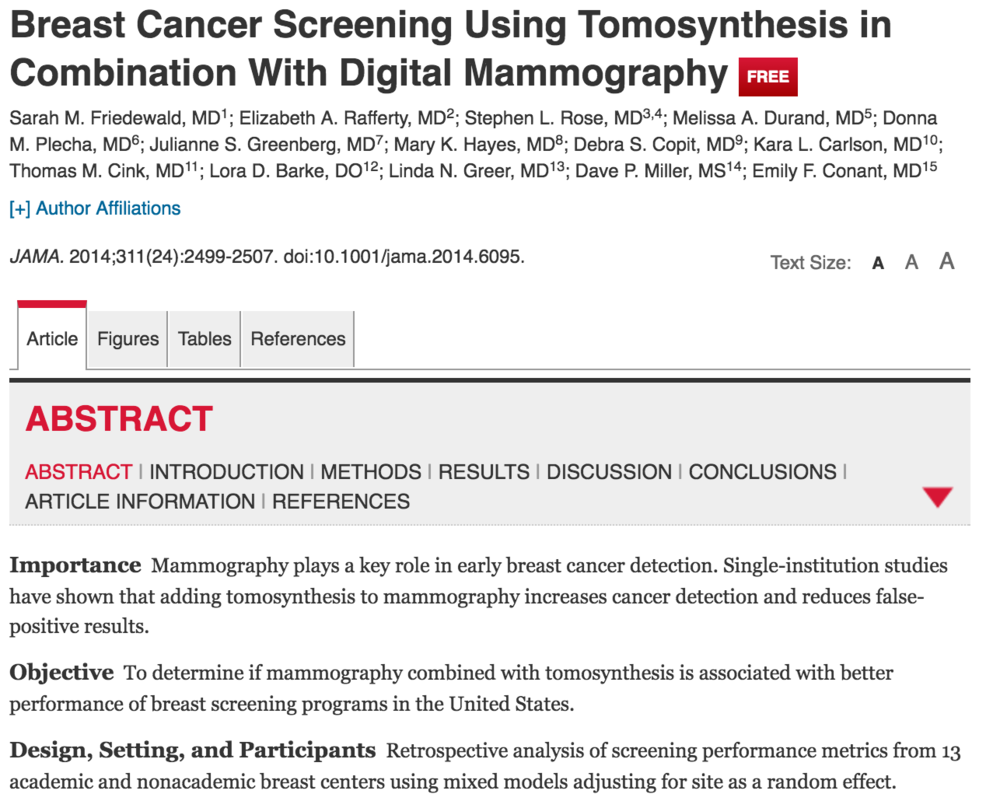 Benefits of Tomosynthesis