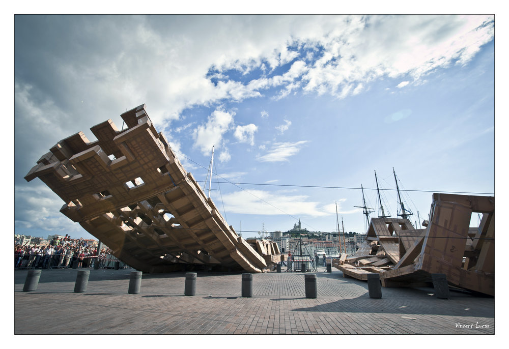 A previous toppling tower by Olivier Grossetête, in Marseille. Photo: Vincent Lucas