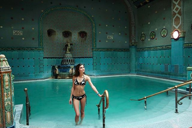 Budapest, Hungary - Our muse, Gabriella Kuti, headed to Budapest for holiday in our Queen of Hearts bikini. In addition to hitting the spa, we recommend ice skating on this hotel rooftopto experience the incredible views that the city has to offer.