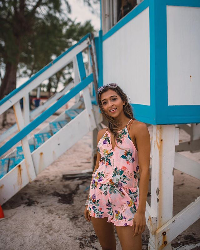 Virginia Key Beach - Jyo Shankar of @cuppajyo takes advantage of 80 degree December weather in our Blossoms romper. You can view a list of 34 fabulous things to do during your stay at Travel & Leisure. If you need us, we'll be at H Bar.