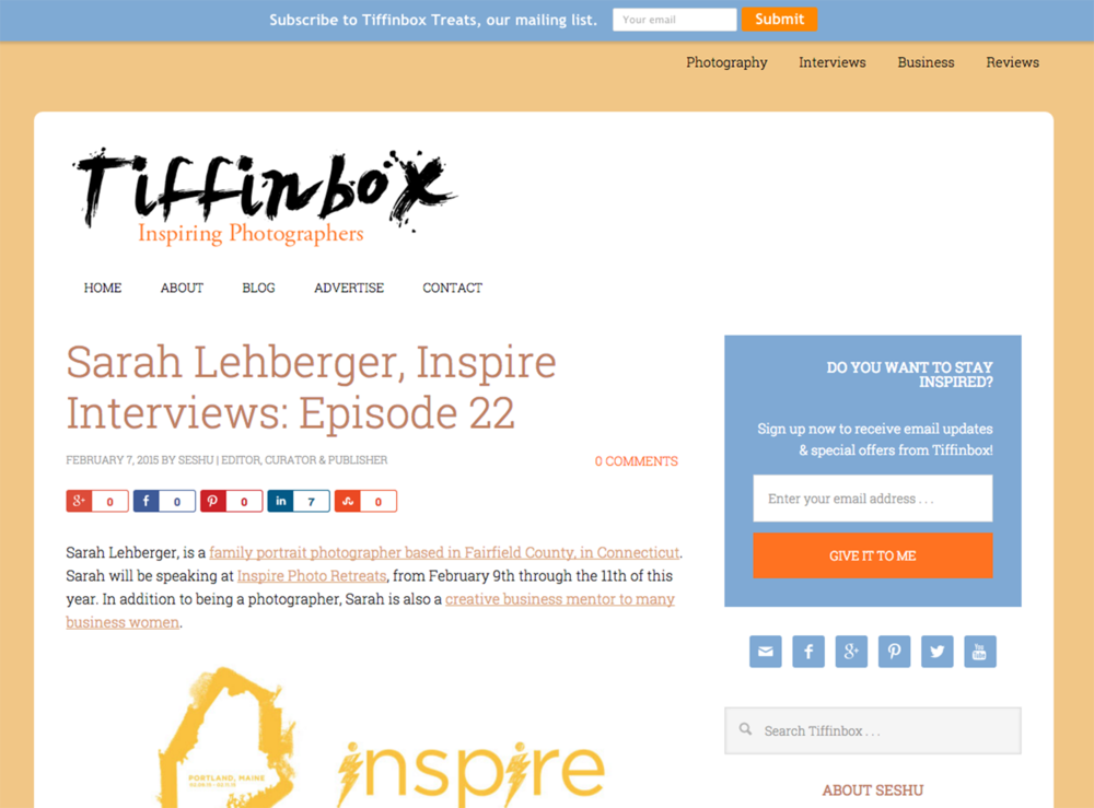 Tiffinbox interview with Sarah Lehberger