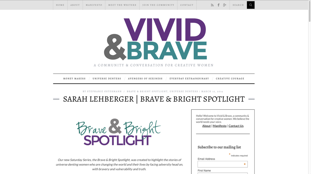 Vivid & Brave interview with Sarah Lehberger