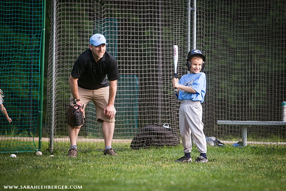 Father Coaches Son in Little League Game