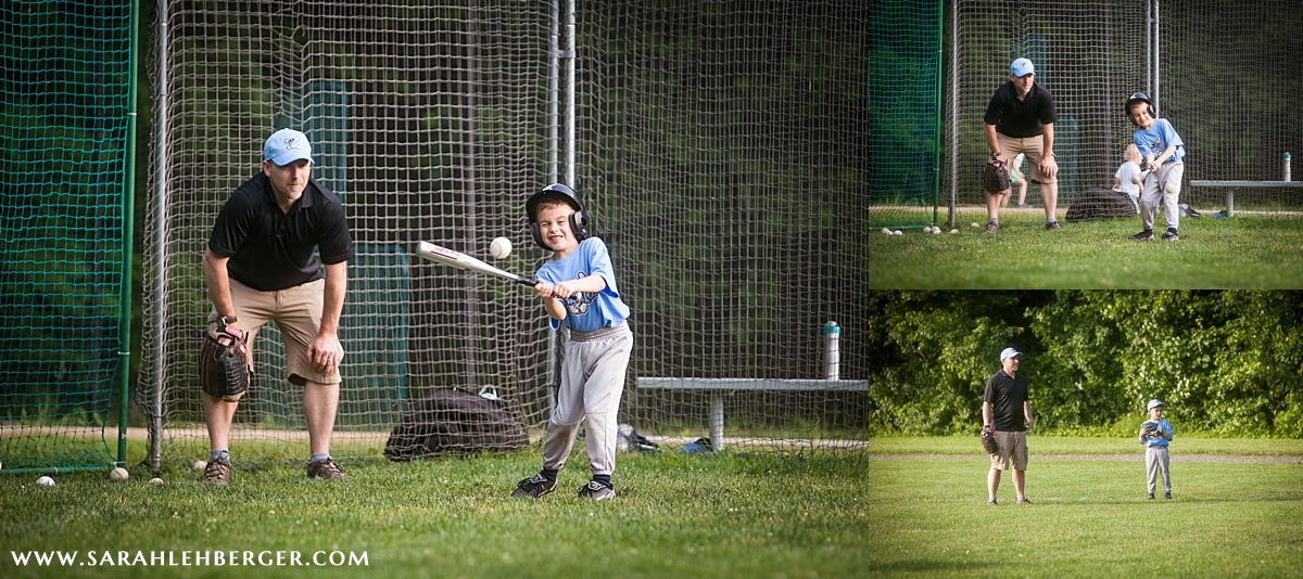 Father Coaches Son in Little League Game Collage