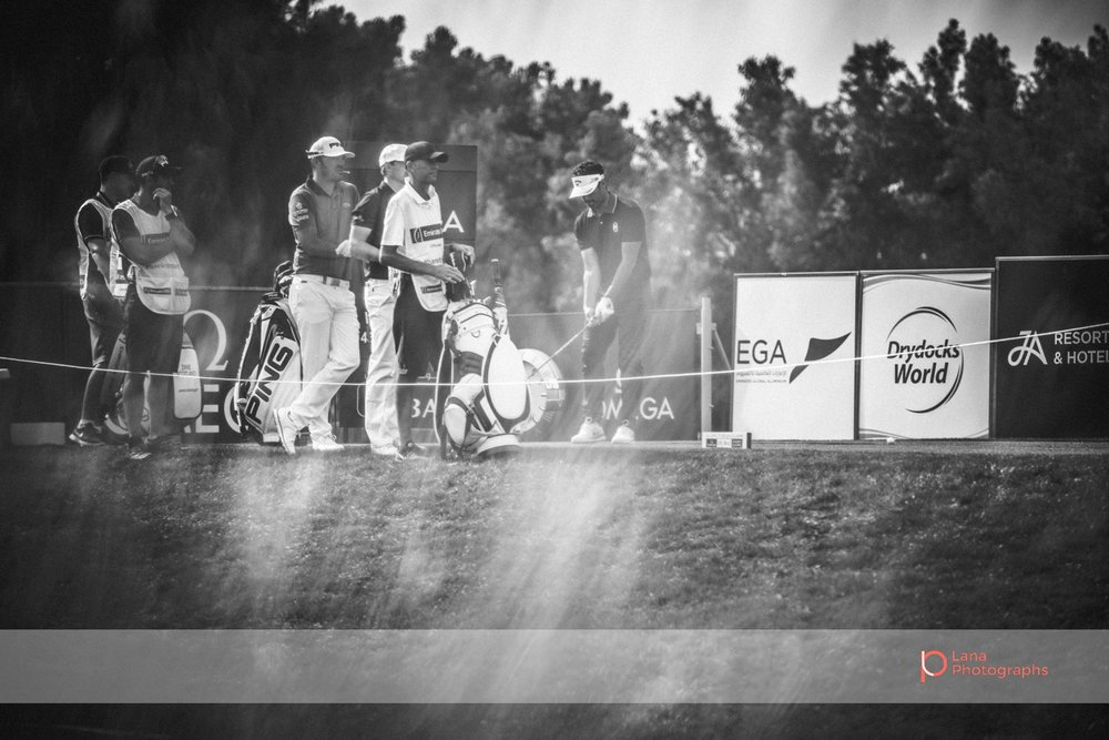 Grégory HAVRET  waits for his turn to swing at the Omega Dubai Desert Classic in Dubai February 2017