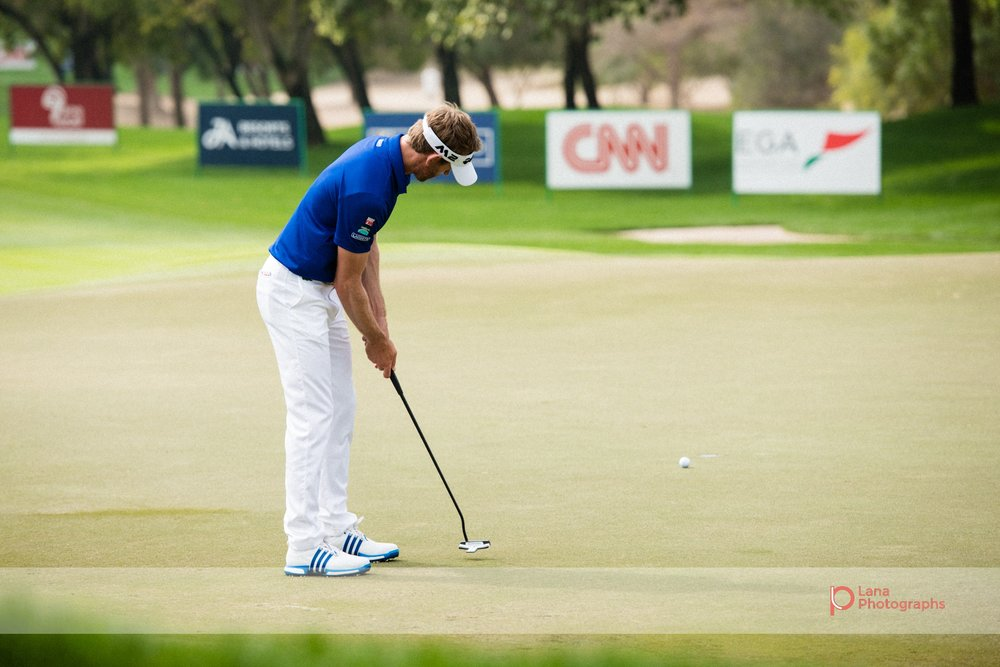 Great form from  Raphael Jacquelin  as he takes a shot at the Omega Dubai Desert Classic at the Emirates Golf Club in Dubai February 2017