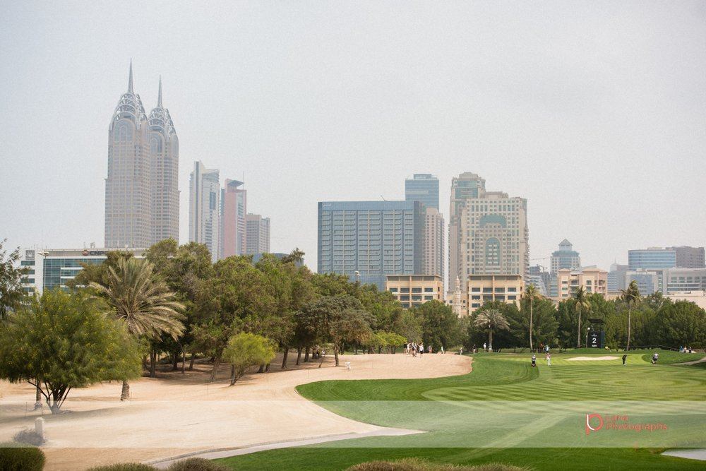 A view of Dubai Internet City and Dubai Knowledge Village from the Emirates Golf Course during the Omega Dubai Desert Classic in Dubai February 2017