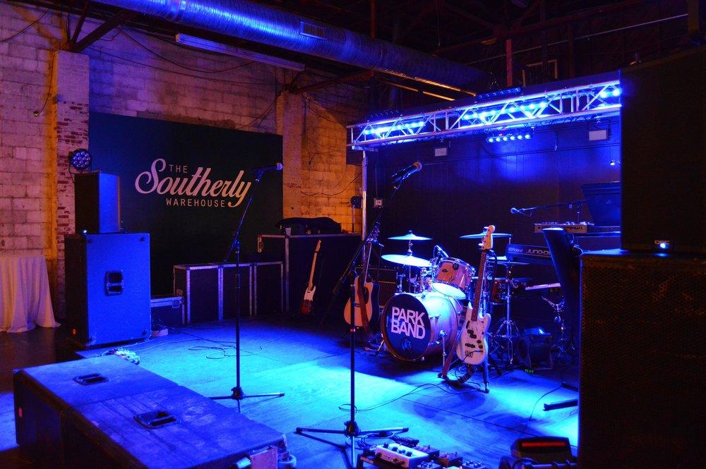 Park Band's set-up in Garage Room.