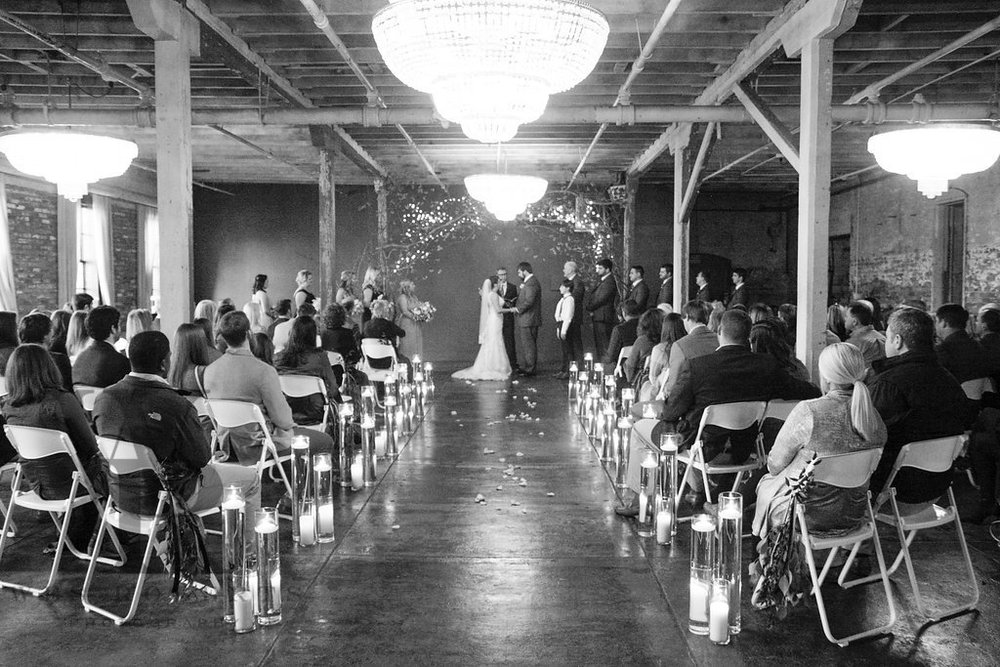 Kara & Logan's wedding ceremony in Chandelier Room.
