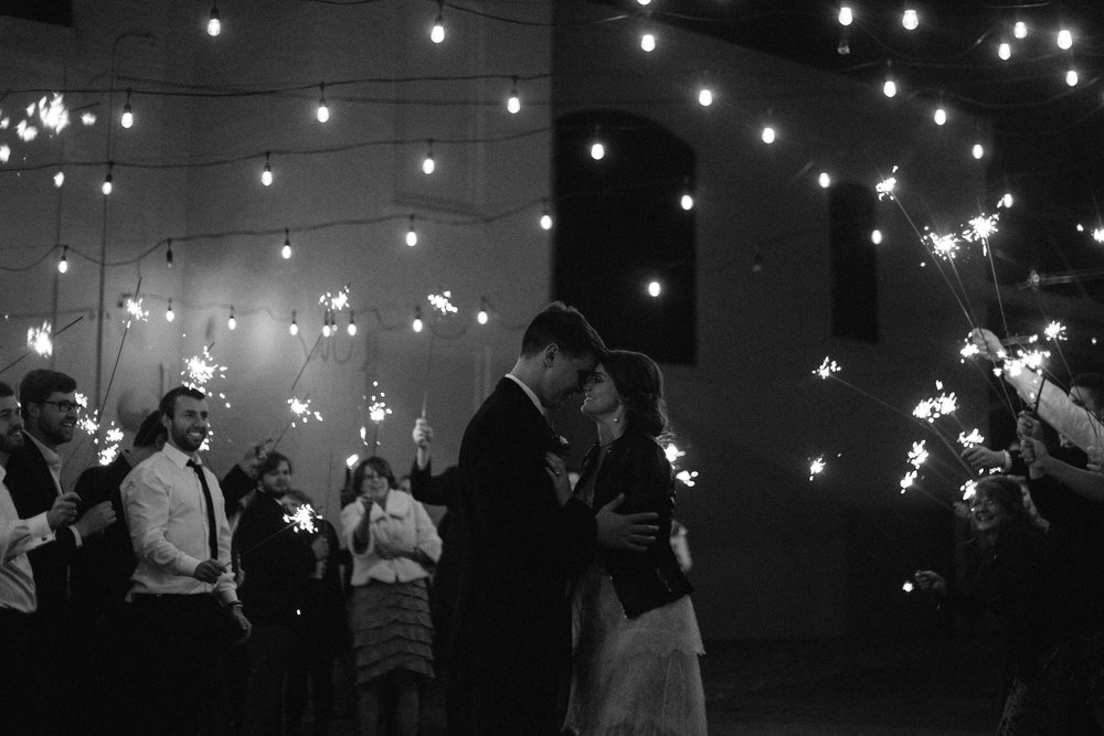 sparklers + outdoor courtyard = a romantic ending to the perfect day