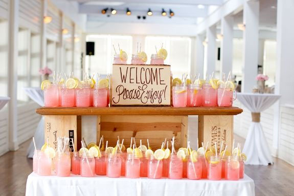 Pink lemonade is a refreshing welcome for your guests.