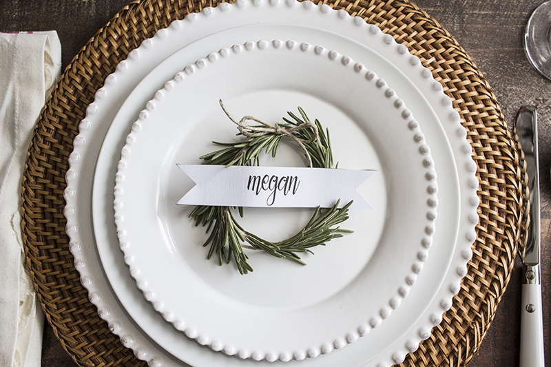 classic place card on plate