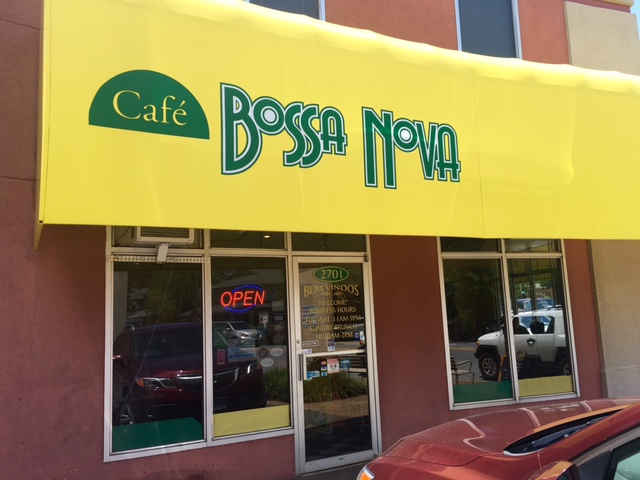 Cafe Bossa Nova storefront view from the sidewalk.