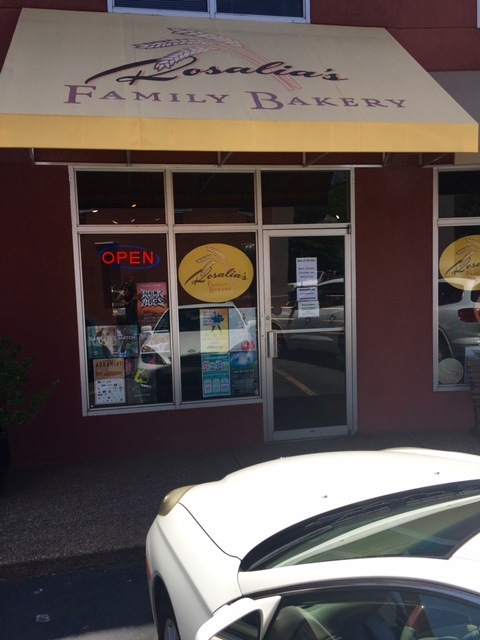 Rosalia's Family Bakery storefront view from the sidewalk.