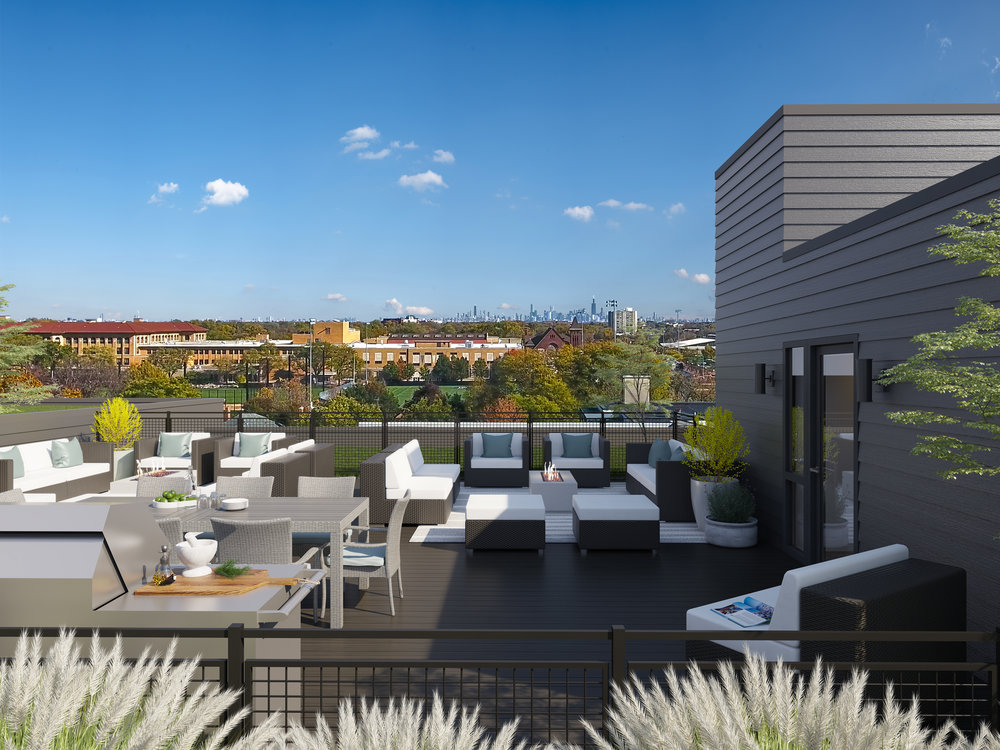 A rendering of the rooftop living space with the Chicago skyline to the east