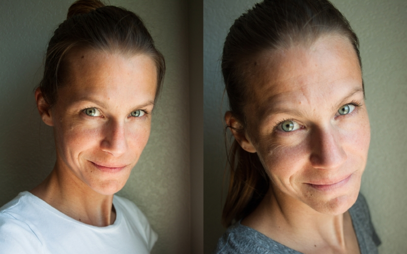 Left side: fully hydrated with a few fine lines showing. I call these my natural happy lines. After two kids and eight moves, I think I have earned them. ;) Right side: two days drinking only 1/4 of my normal water intake. YIKES!!!!! It truly makes a difference.