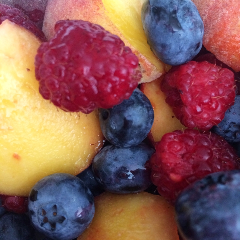 Make sure you fuel your body with the good stuff. One of my favorite snacks is a bowl of fresh fruit! If I need a little extra sweetness I add 1/2 tsp. of raw honey and stir. So yummy!