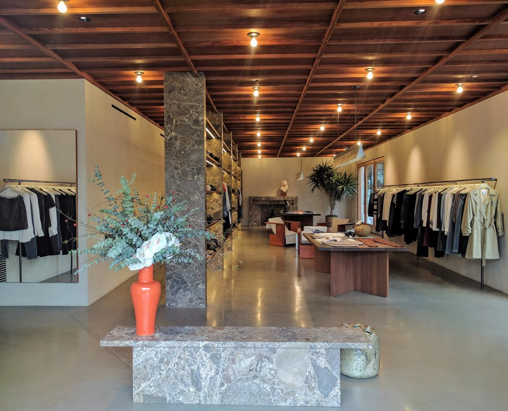 Frame Denim updates, Melrose Place, flagship, fashion, retail design, marble