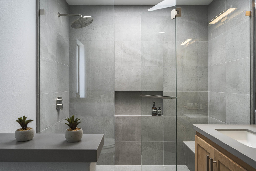 Modern Grey Master Bathroom remodel