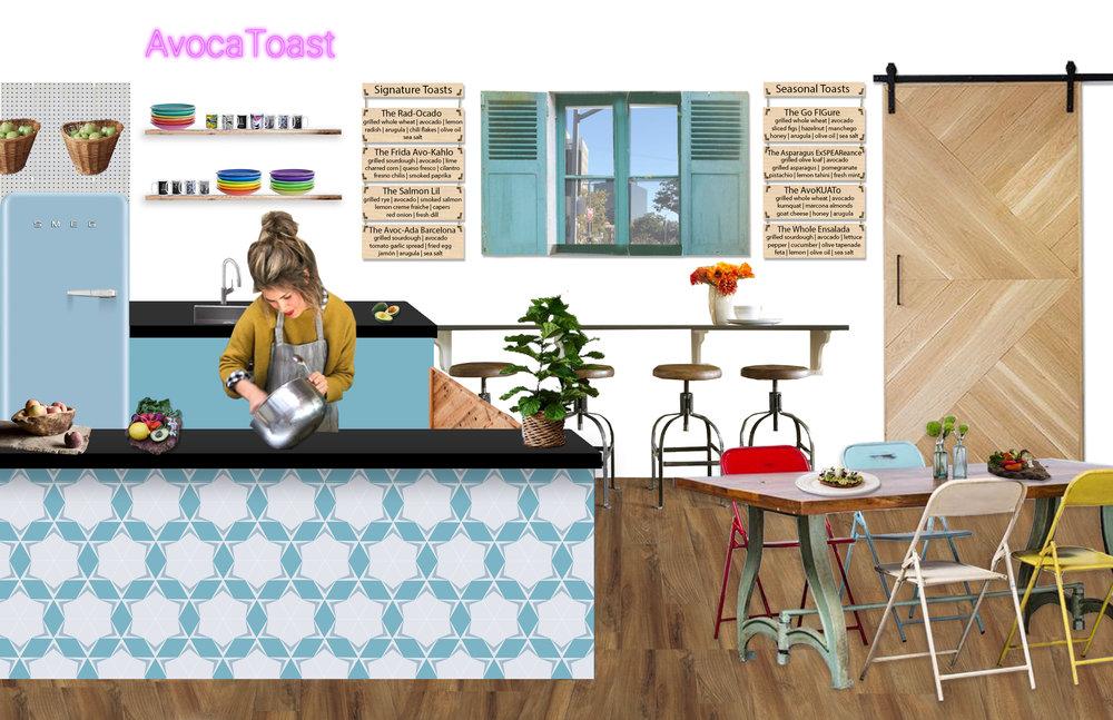 AvocaToast LA, avocado toast, conceptual design, schematic design, graphic, Los Angeles, foodie
