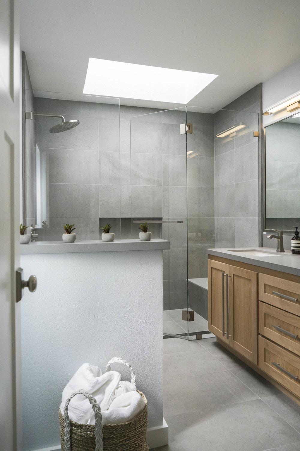 modern grey minimal master bathroom remodel