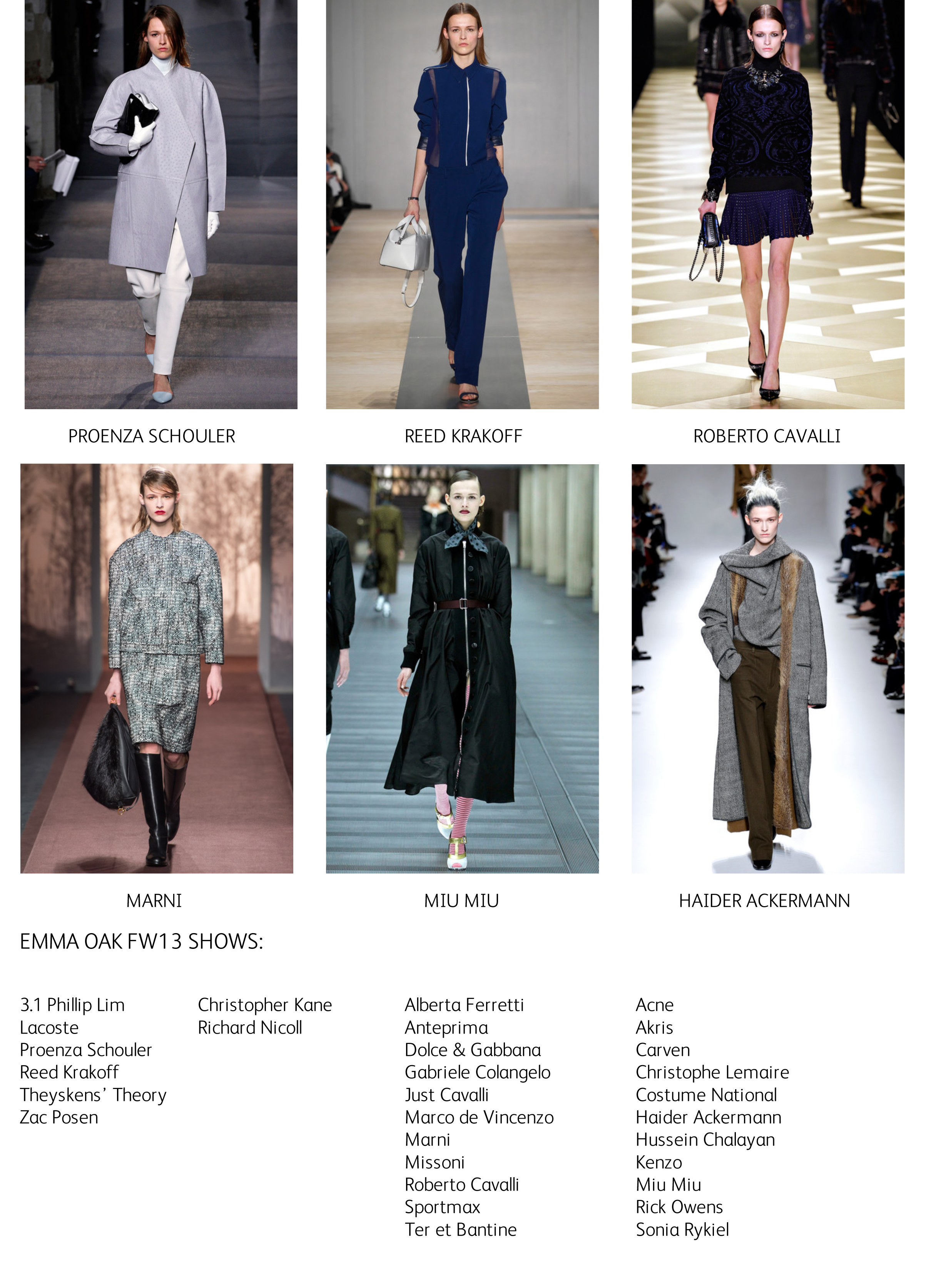 EMMA FW13 shows