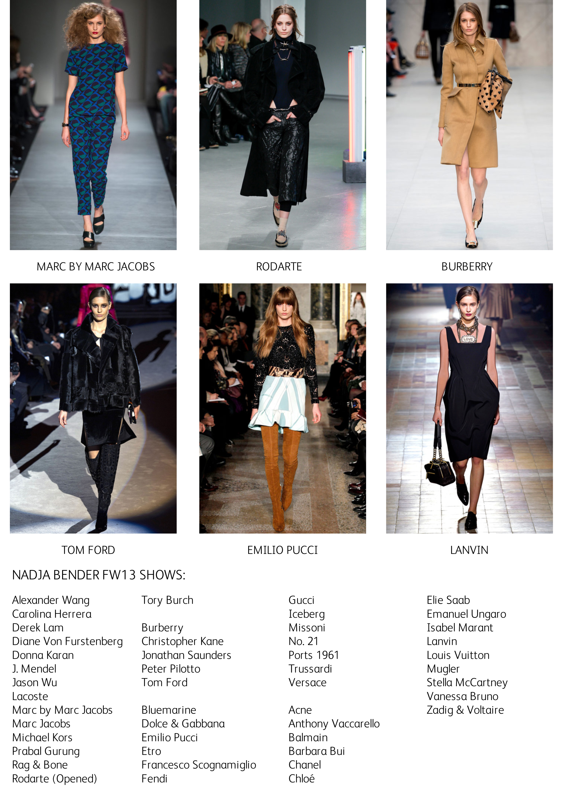 Nadja FW13 shows