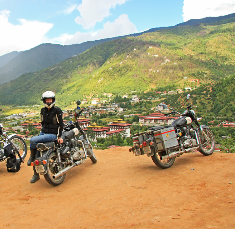 Above the City of Thimphu, Bhutan [Schuberth C3, Dainese Zima jacket and EVO pant, 2013 Royal Enfield Bullet 500]