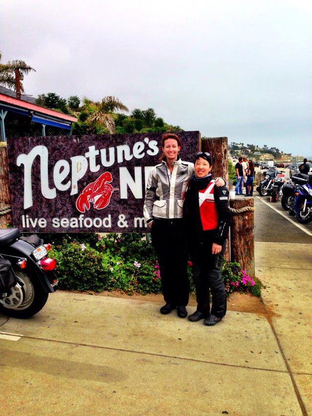 In front of famed motorcycle destination Neptune's Net along Highway 1 in Malibu