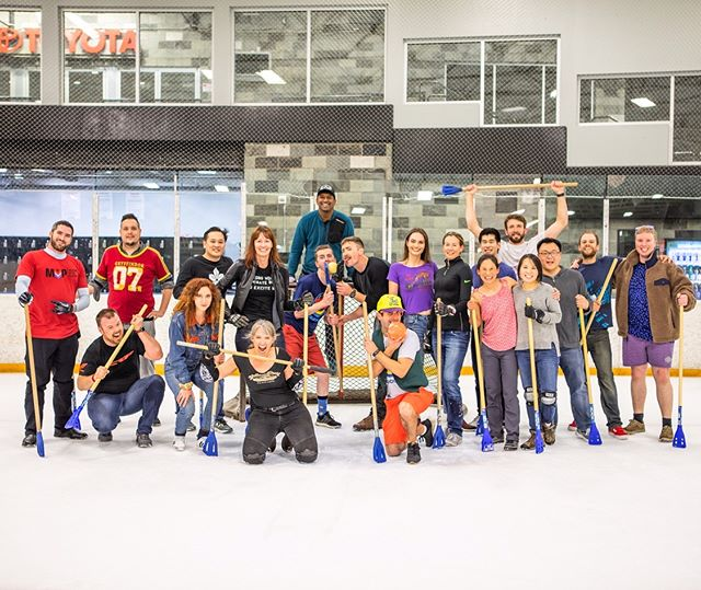 I didn't know what #Broomball was, even while I was sliding around on the ice swinging a broomstick and chasing balls with a great group of people inside (and out of) the moto industry, awesomely orchestrated by @bikeurious. Always say yes to new things, or have girlfriends who won't let you say no for an answer. I rocked some #ATGATT, didn't fall on my bootayyy, shared a few laughs and made a few impromptu snow angels to celebrate it all before the zamboni kicked us out. Bring on Round 2. 💪🏼💪🏼 . Photos bravely shot by @nathanmay